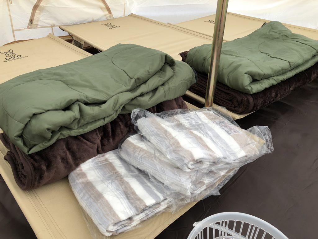 ぷちグランピングの寝具の冬支度